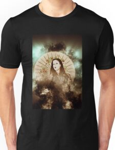 A female model in her 20s dressed as a Japanese with white make up Unisex T-Shirt