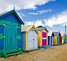 Lined Up - Brighton Beach Boxes - Australia by Norman Repacholi