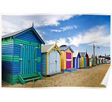 Lined Up - Brighton Beach Boxes - Australia Poster