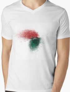 exploding red and green wooden building blocks Mens V-Neck T-Shirt