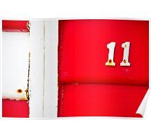 White on Red Eleven- Brighton Beach Boxes - Australia Poster