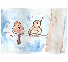 Winter Birds with Berries Poster