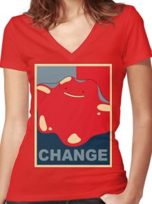 Ditto Pokemon - Change Women's Fitted V-Neck T-Shirt