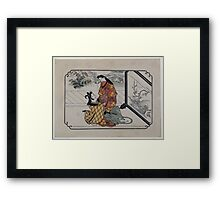 Two lovers embracing in front of a painted screen 001 Framed Print