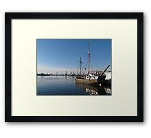 Old Ship in Calm Water Harbor Framed Print