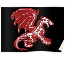 Black Background, Skeleton Dragon Design, Bag of Bones Dragon Poster