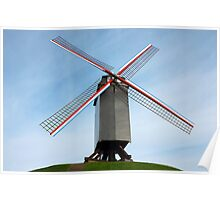 Windmill in Bruges Belgium Poster