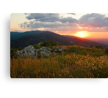 Colorful Sunset over the Mountain slope Canvas Print