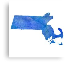 Massachusetts State Watercolor Canvas Print