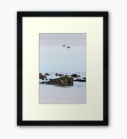 Like a rock in the water - natural Framed Print