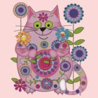 Cute Flower Power Cat by walstraasart