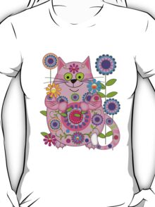Cute Flower Power Cat T-Shirt