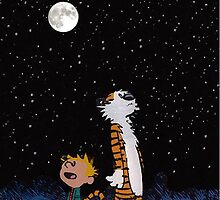 calvin and hobbes night sky  by geneoart