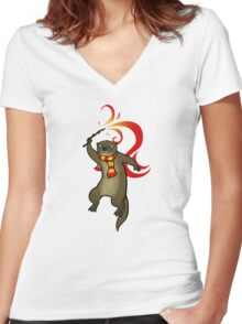 Parry the Otter Women's Fitted V-Neck T-Shirt