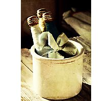 Antique Spindles and Crock Photographic Print