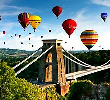 Hot Air Balloons Over Bridge by Albert  Robbins