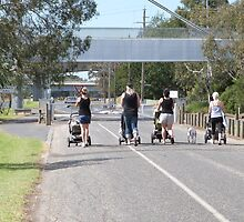 'FOUR MUMS & A DOG!' stepping out Barwon River, Geelong, Vic. by Rita Blom