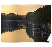 Sunset over river Tiber in Rome Poster