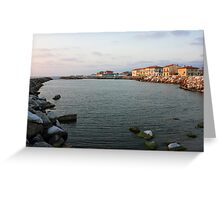 Marina di Pisa sunset view of the town Greeting Card