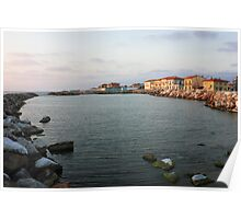 Marina di Pisa sunset view of the town Poster