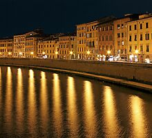 Night View of river Arno bank in Pisa by kirilart
