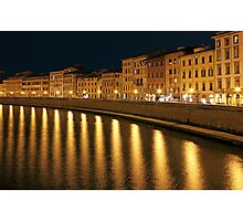 Night View of river Arno bank in Pisa Photographic Print