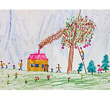 Child drawing of a happy family Photographic Print