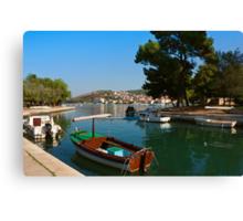 Waterfront view of Trogir in Croatia Canvas Print