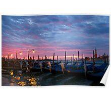 Romantic Venice Sunrise with Gondolas Poster