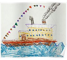 Kid's Drawing of a Passenger Ship in The Sea Poster
