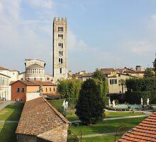 Basilica di San Frediano with palazzo Pfanner gardens by kirilart