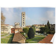 Basilica di San Frediano with palazzo Pfanner gardens Poster