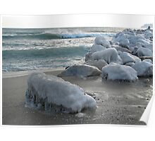 Rocks covered in ice on the sea shore Poster