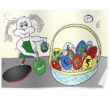 Easter Egg Omlette Bunny Cartoon Poster