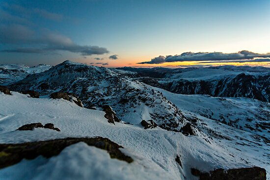 Crinkle Crags & Bow Fell - Sunrise by David Lewins