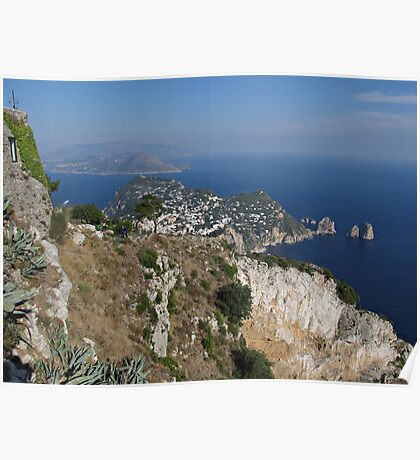 Island Capri view from the highest point Monte Solaro Poster