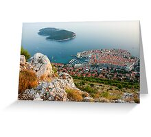 Panoramic view of the Old Town Dubrovnik and Island Lokrum Greeting Card