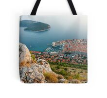 Panoramic view of the Old Town Dubrovnik and Island Lokrum Tote Bag