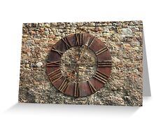 Ancient Clock Face on wall Background Greeting Card