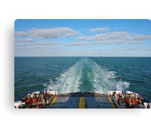 Ferry Boat leaving UK land from Dover to Calais Canvas Print
