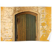 Old Wooden door with cracks on the wall Poster
