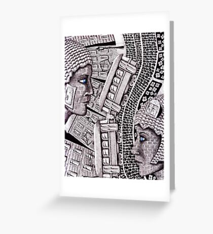 City Love surreal ink pen and colored pencils drawing Greeting Card