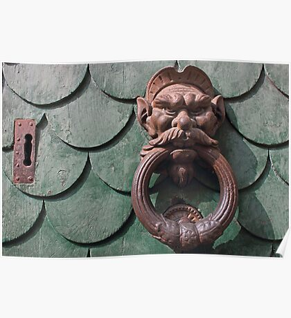 Vintage rusty door knocker in Pisa Italy Poster
