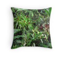 Tropical Forest Flora Background Throw Pillow