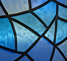 Stained glass background with ice flowers by kirilart