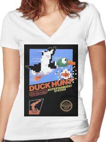 Duck Hunt Nes Art Women's Fitted V-Neck T-Shirt