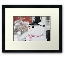 Snowman with witch hat  Framed Print
