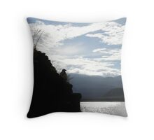 Galapagos Hawk Silhouette Throw Pillow