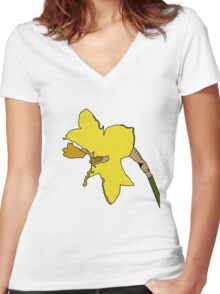 Torn Daffodil Women's Fitted V-Neck T-Shirt