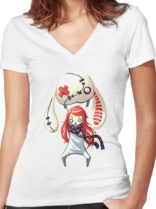 Bunny Plush Women's Fitted V-Neck T-Shirt